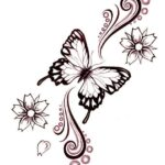Feminine And Tribal Butterfly Tattoo